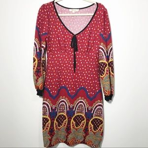 Aryeh Red Print Fit & Flair Sweater Dress